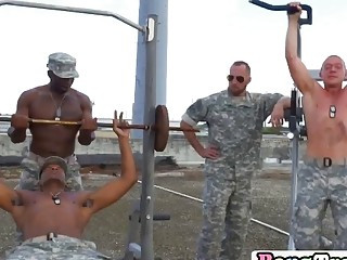 Military man gives head to big dicks on knees