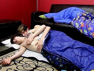 Two handsome twinks enjoys fucking each other on the sofa