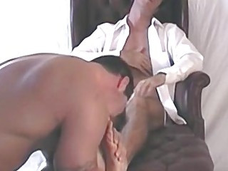 Muscular friend of Randy worships his feet and sucks toes
