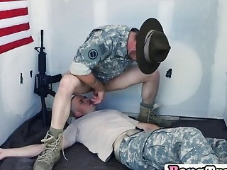 Gay trooper gets mouth and ass filled in threesome